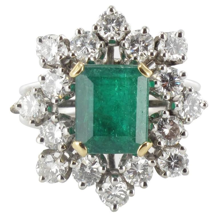 1960s French Emerald Diamond Gold Ring