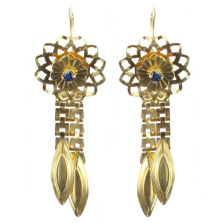 1960s Retro Sapphire and Gold Earrings  For Sale