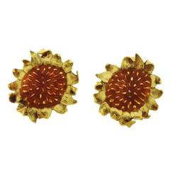 Angela Cummings Rare Large Gold Sunflower Earrings