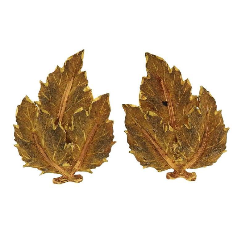 Buccellati Gold Leaf Earrings