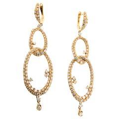 Diamond Gold Double Oval Drop Earrings