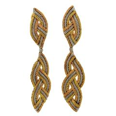 Buccellati Tricolor Gold Long Night and Day Earrings