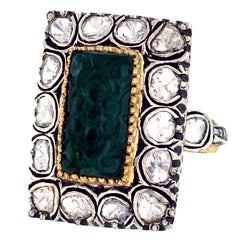 Carved Emerald Diamond Silver Gold Ring