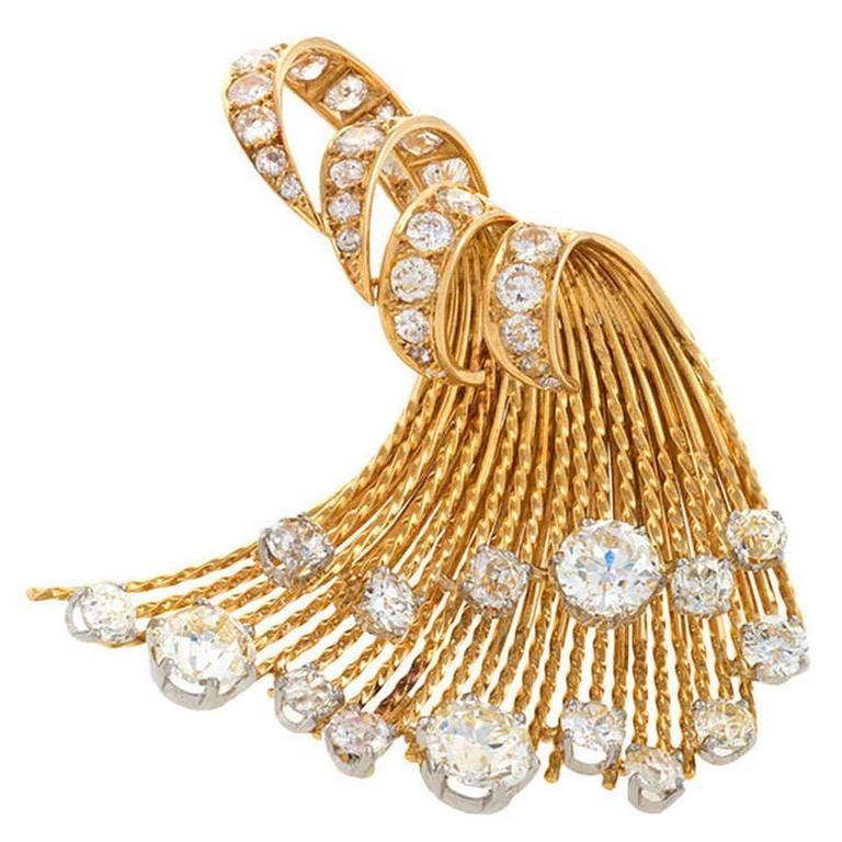 Sterlé Paris 1950s Diamond Gold Brooch