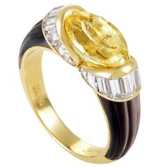 Piaget Mother of Pearl Yellow Sapphire Diamond Gold Ring
