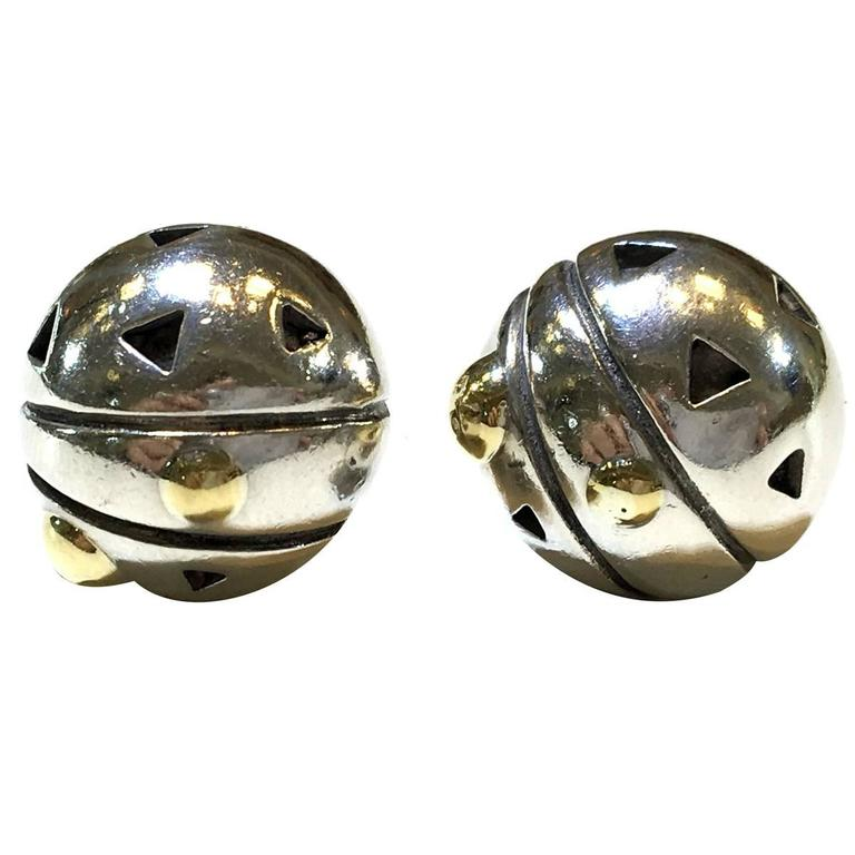 John Atencio Silver And Gold Elements Button Stud Earrings For Sale