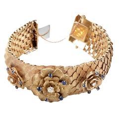 Antique Sapphire Diamond Gold Rosette Bracelet