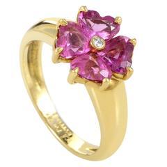 Van Cleef & Arpels Pink Sapphire Diamond Gold Flower Ring