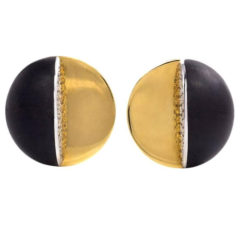 1960s Ebony Diamond Gold Geometric Clip Earrings