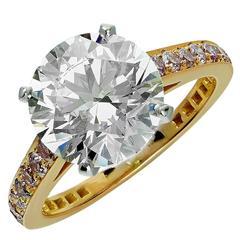 Stunning Graff GIA Cert 3.60 Carat Diamond Gold Engagement Ring
