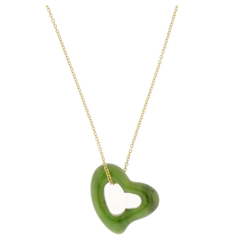 Tiffany & Co. Elsa Peretti  Large Jade Open Heart Necklace For Sale