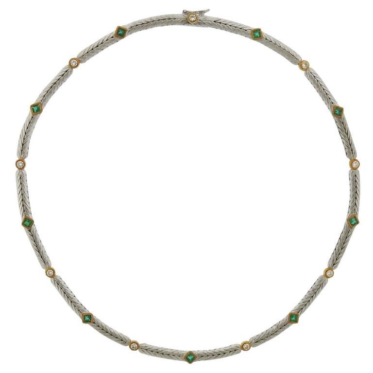 Buccellati Oro Emerald Diamond Gold Necklace