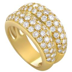 Cartier Diamond Pave Gold Double Band Ring
