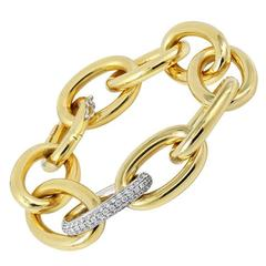 diamond pave Two Color Gold Link Bracelet