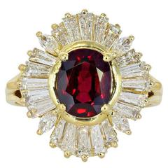 2.15 Carat Ruby Diamond gold cluster Ring