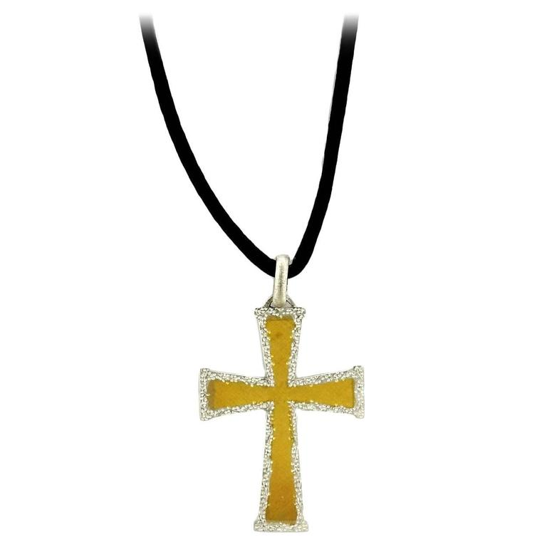 Buccellati gold cross pendant cord necklace at 1stdibs buccellati gold cross pendant cord necklace for sale aloadofball Choice Image