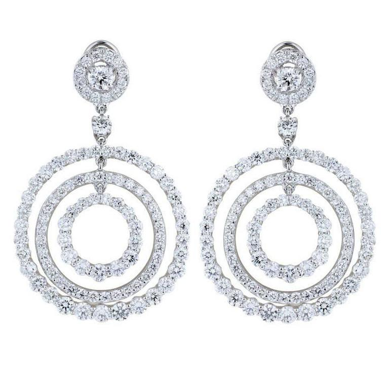 11.11 Carats diamonds triple hoop Platinum Drop Earrings For Sale