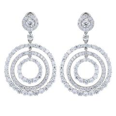 11.11 Carats diamonds triple hoop Platinum Drop Earrings