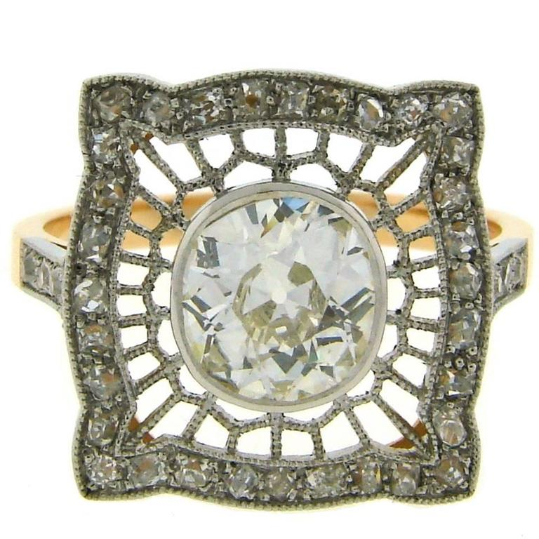1960s Edwardian Revival Diamond Platinum Gold Ring For Sale