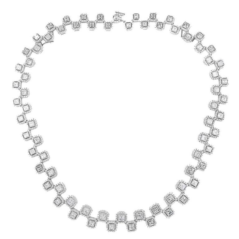 20.62 Carat Asscher Cut Diamond Necklace