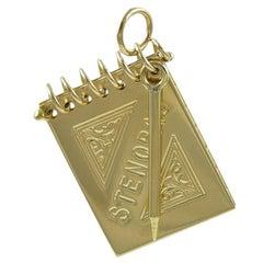 Steno Pad and Pencil Gold Charm