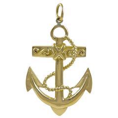 Large Gold Anchor Charm Pendant