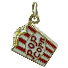 Popcorn Enamel and Gold Charm
