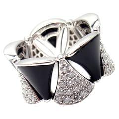 Bulgari Diva Dream Diamond Onyx Gold Band Ring