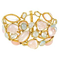 Rose Quartz Blue Tourmaline Gold Bracelet