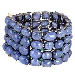 Blue Sapphire Tsavorite Diamond Gold Bracelet