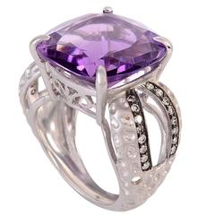 17.89 Carat Amethyst Diamond Gold Ring