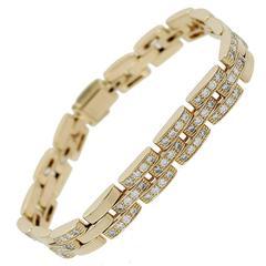 Cartier Maillon Panthere Three Row Diamond Gold Link Bracelet