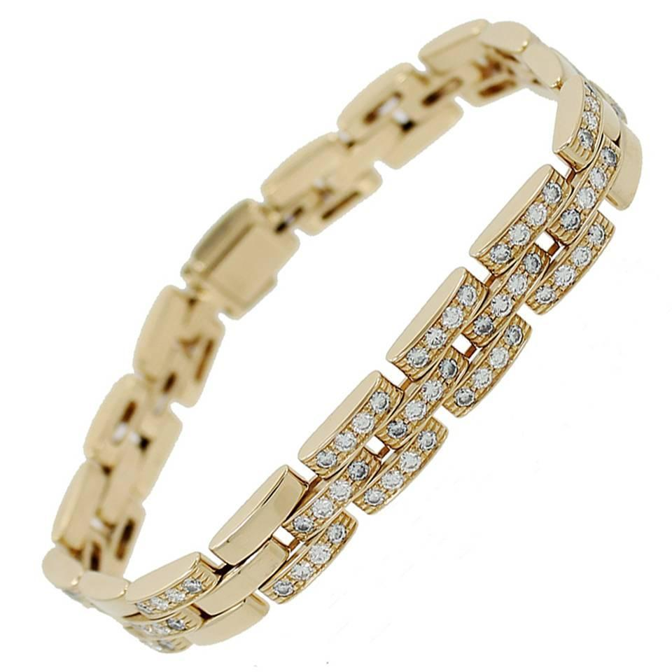Cartier Maillon Panthere Three Row Diamond Gold Link Bracelet For At 1stdibs