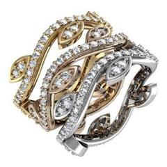 Four Stackable Eternity Diamond Gold Band Rings