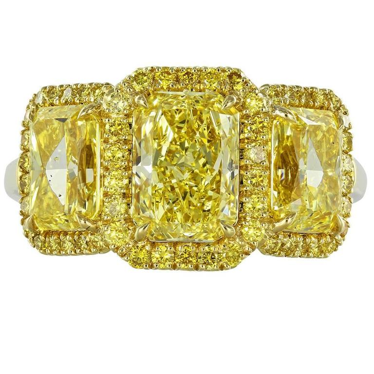 3.53 Carat Radiant Canary Stone Diamonds Gold Three-Stone Engagement Ring
