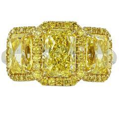 3.53 Carat Radiant Canary Stone Diamonds Gold Three-Stone Engagement Ring