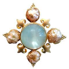 Crevoshay Handmade Moonstone Rosebud Pearl Gold Pendant