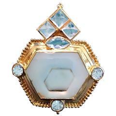 Crevoshay Beryl Moonstone Gold Pendant
