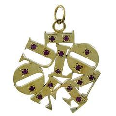 Best Ever I Love You Large Gold Gemset Charm