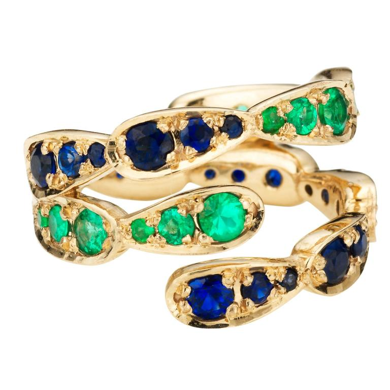 Sabine Getty Blue Sapphire Emerald Gold Harlequin Ring 1