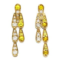 Sabine Getty Yellow Sapphire Diamond Gold Harlequin Earrings