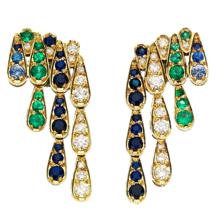 Sabine Getty Emerald Blue Sapphire Diamond Gold Harlequin Earrings 1