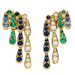 Sabine Getty Emerald Blue Sapphire Diamond Gold Harlequin Earrings