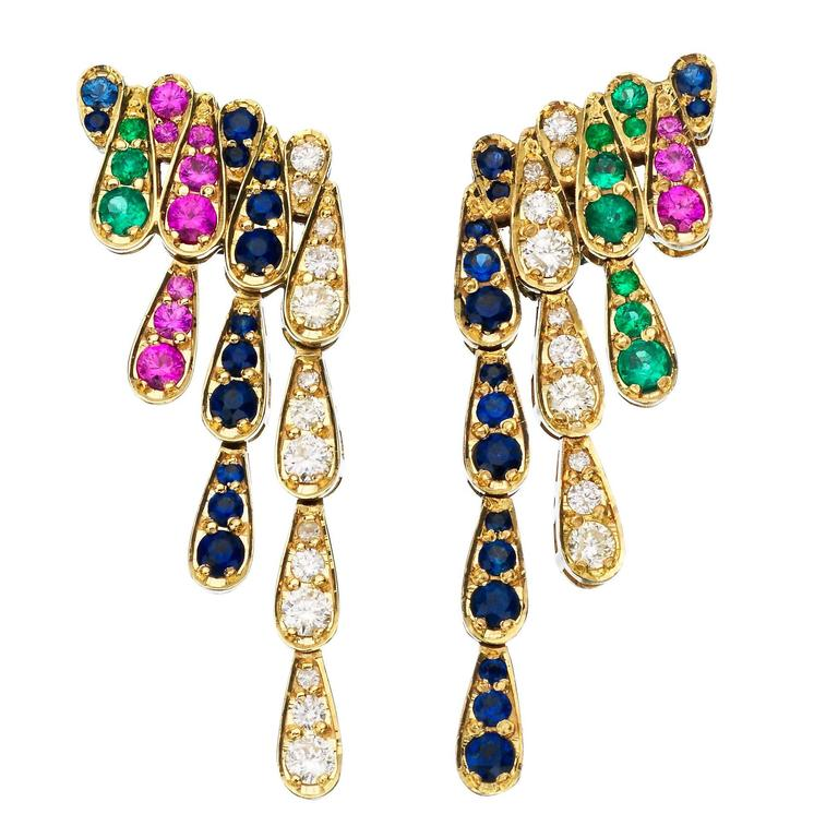 Sabine Getty Emerald Blue and Pink Sapphire Diamond Gold Harlequin Earrings