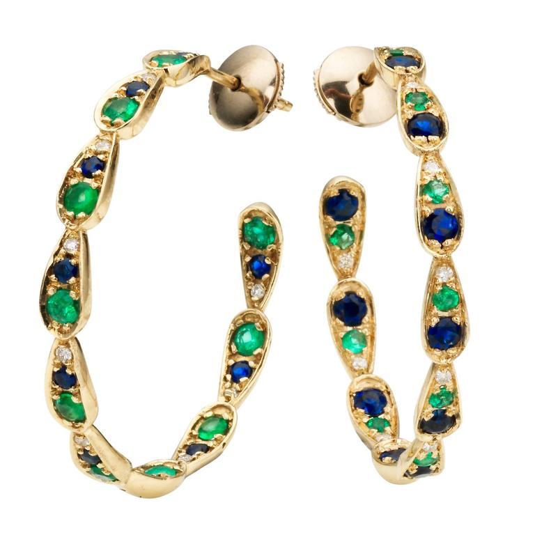 Sabine Getty Blue Sapphire Emerald Diamond Gold Harlequin Earrings