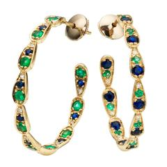 Sabine Getty Blue Sapphire Emerald Diamond Gold Harlequin Earrings