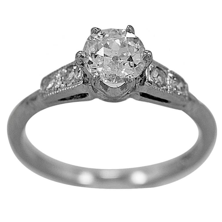 Art Deco .60 Carat Diamond Platinum Engagement Ring
