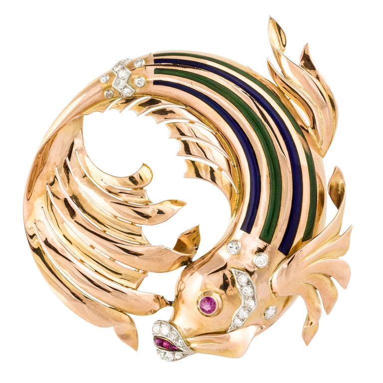 Enameled Gold Fish Pin