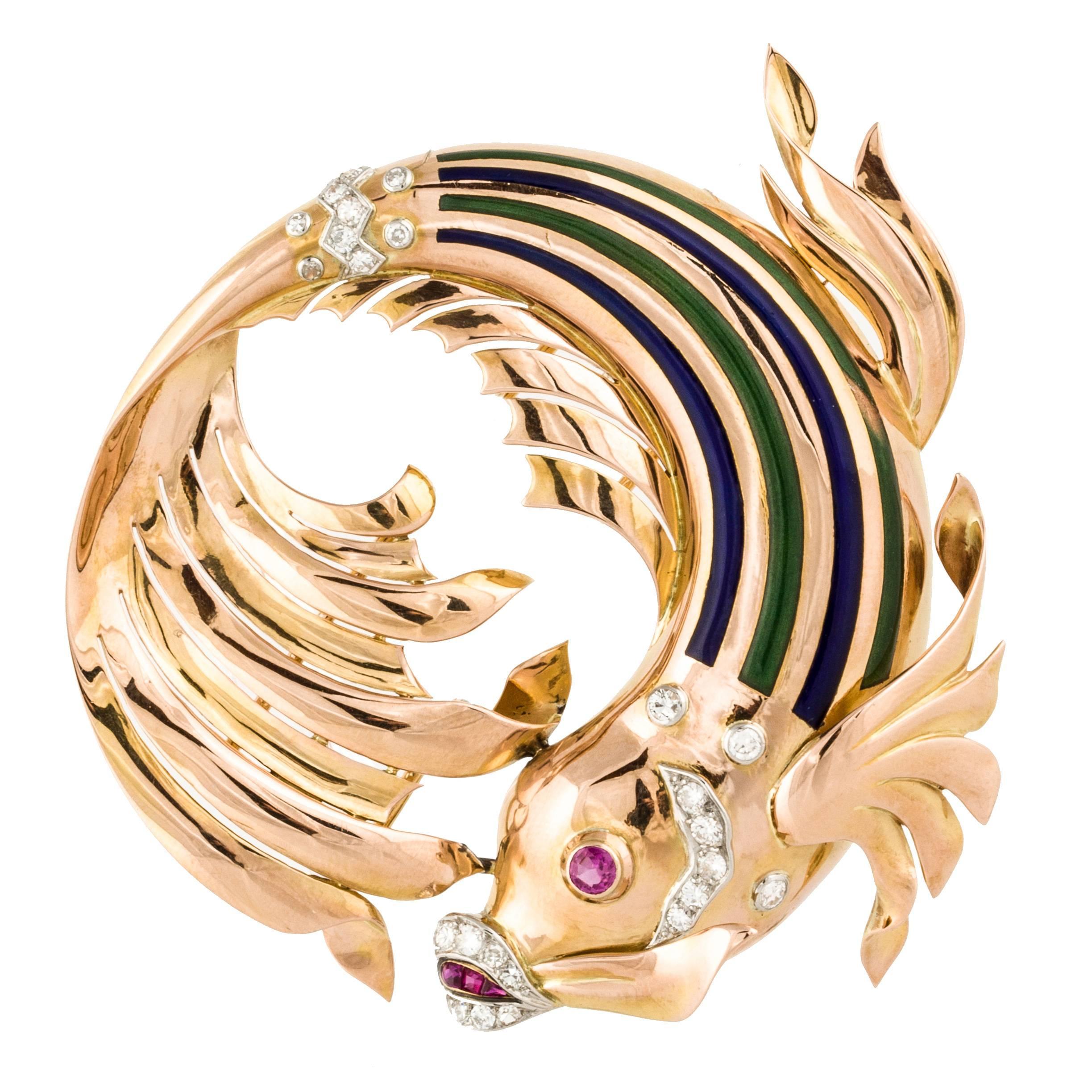 Retro 18K Rose Gold and Enamel Fish Pin