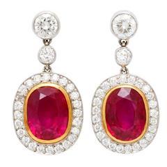Ruby Diamond Gold Earrings